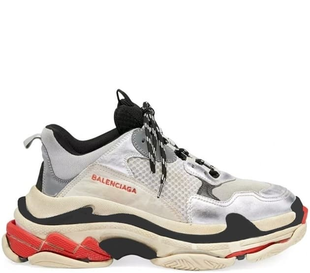 Кроссовки Balenciaga Triple S Silver/Red (36-44) Арт-210BA