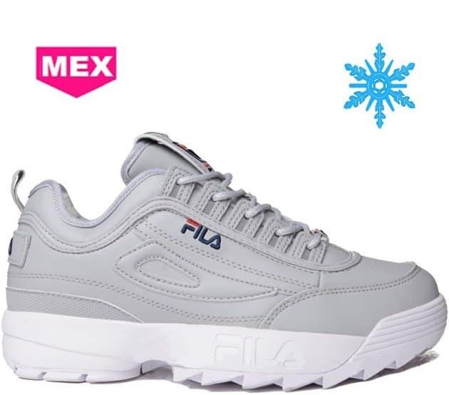 Купить мужские и женские кроссовки Fila (Фила) зимние с мехом Серые ... 5dcb7760413