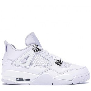 Nike Air Jordan 4 Retro White & Silver (36-45) код: 14025